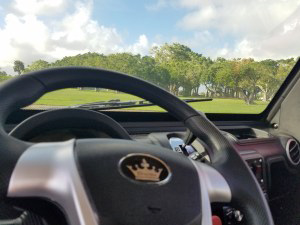 steering wheel in a revolution golf car