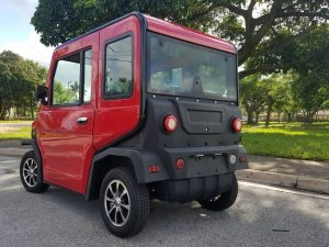 rear view of a revolution golf car