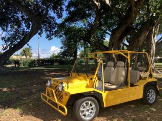 yellow moke golf car