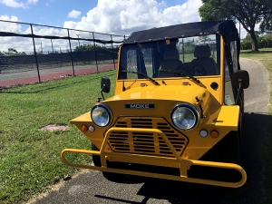yellow moke golf cart, moke golf car, moke rental, golf cart, golf car