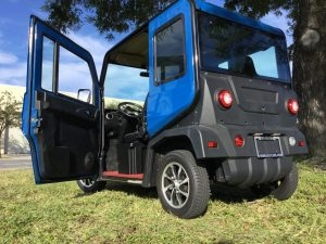 side view of a revolution golf car
